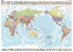 Pacific Centred World & Flags Map
