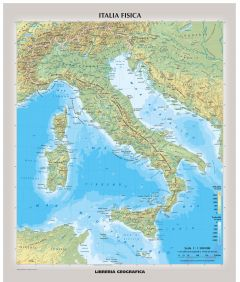 Physical Italy Wall Map - Italian Map