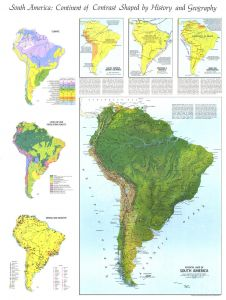 Physical Map of South America  -  Published 1972 Map