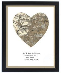 Cassini Personalised Map - Wood Framed (Heart Shaped)