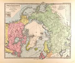 Polar Map in German - Gotha Justus Perthes 1872 Atlas Map