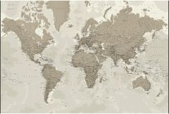 Political World Wall Map - Silver-tones - Extra Large Map