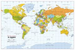 Political World Wall Map, Spanish Language Map