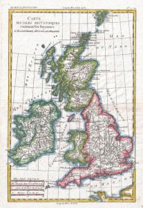 Raynal and Bonne Map of British Isles (1780) Map