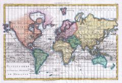 Raynal and Bonne Map of the World (1780) Map