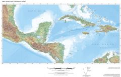 Regional Relief - Central America & Caribbean Map