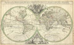 Sanson Map of the World on Hemisphere Projection (1691) Map