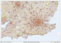 South East England Postcode District Wall Map (D2) Map
