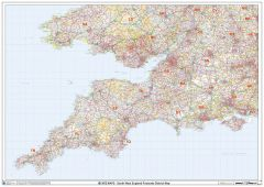 South West England Postcode District Wall Map (D1) Map