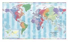 Time Zone Wall Map of the World - Large Map