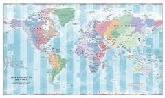 Time Zone Wall Map of the World Map