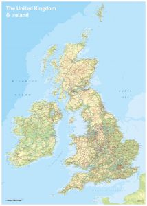 UK & Ireland Topographic Map