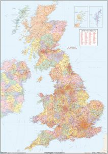 UK Political Postcode District Wall Map (D8) Map