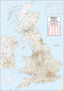 UK Roads Postcode Areas Large Wall Map (A5) Map