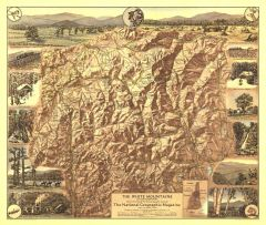 White Mountains of New Hampshire  -  Published 1937 Map