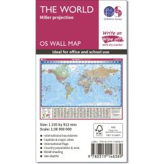OS Wall Map - Miller Projection Map Of The World