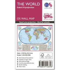 OS Wall Map - Eckert IV Projection Map Of The World