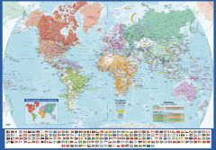 World Wall Map with Flags - English and French - Large Map