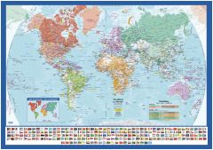 World Wall Map with Flags - English and French Map