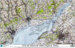 XYZ UK Historical 1940s England, Wales Map