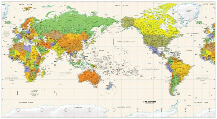 Pacific-Centered World Wall Map