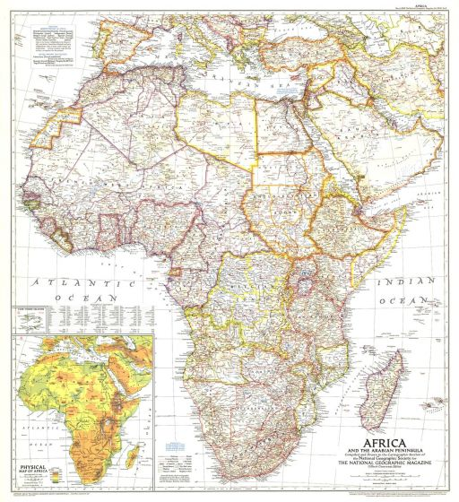 Africa and the Arabian Peninsula  -  Published 1950 Map