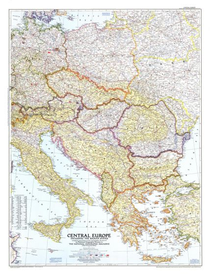 Central Europe  -  Published 1951 Map
