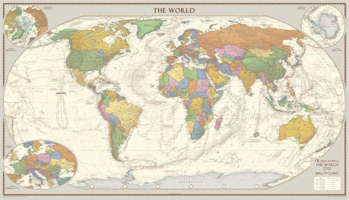 Antique Style World Map - Large Map