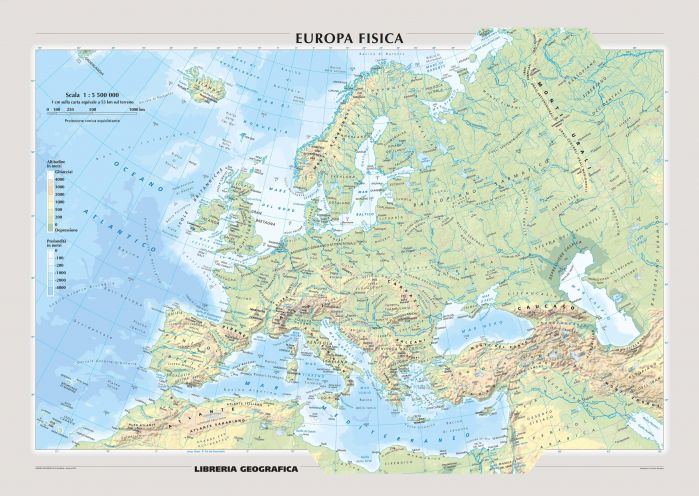 Physical Europe Wall Map - Italian Map