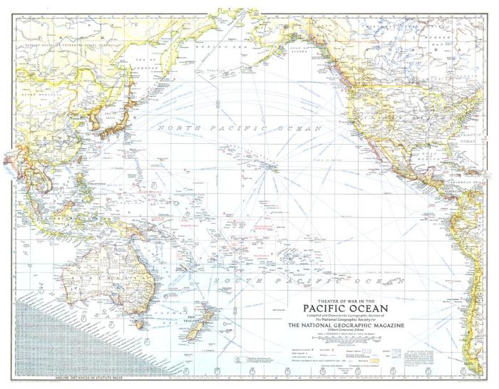 Theater of War in the Pacific Ocean  -  Published 1942 Map