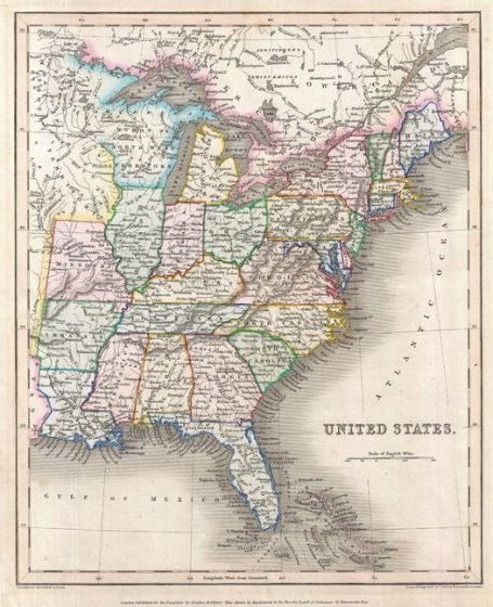 Gilbert Map of the United States (1843) Map