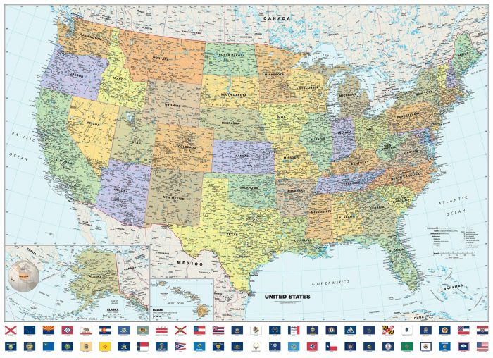 Classic USA Wall Map with Flags Map