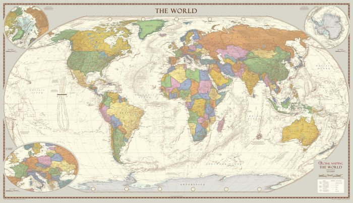 Antique Style World Map - Extra Large Map
