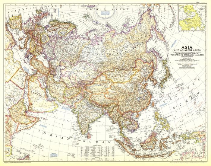 Asia and Adjacent Areas  -  Published 1951 Map