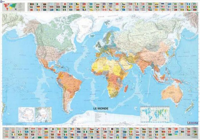 Michelin World Wall Map- Rolled & Tubed