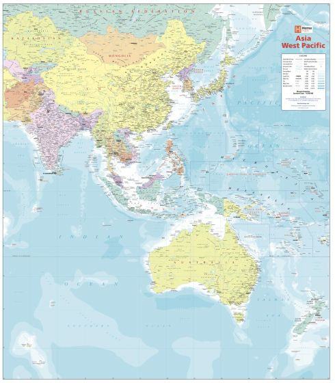 Asia West Pacific Political Wall Map