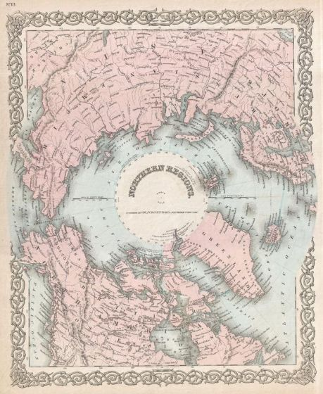 Colton Map of the North Pole or Arctic (1872) Map