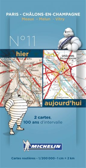 Michelin Historical Map - Paris/Chalons (Pre WW1 & Today)