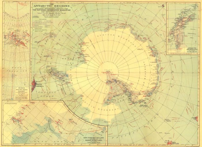 Antarctic Regions - Published 1932 Map