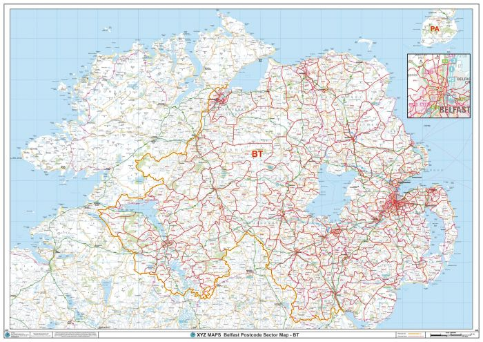 Belfast - BT - Postcode Wall Map