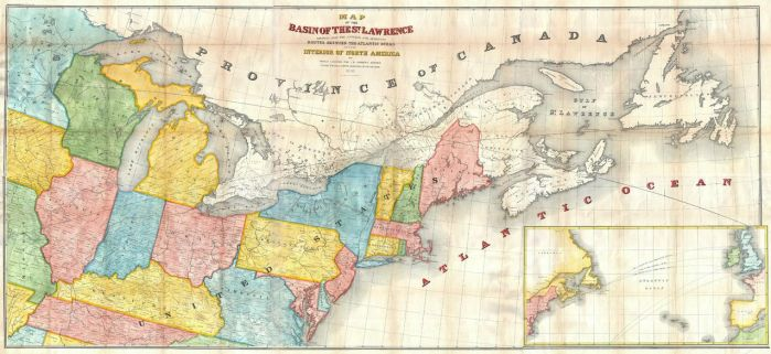 Andrews Map of the Great Lakes and St. Lawrence Basin (1853) Map