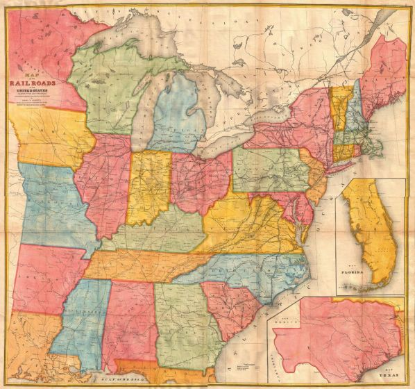 Andrews Railroad Map of the United States (1852) Map