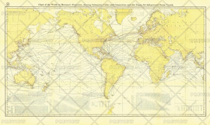Chart of the World on Mercator's Projection - Published 1905 Map