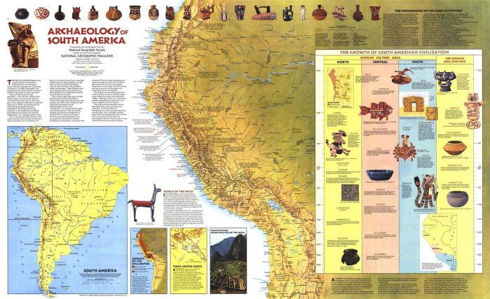 Archaeology of South America  -  Published 1982 Map