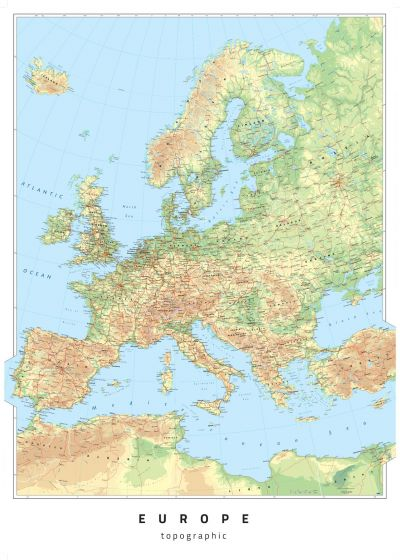 Europe Topographic Map