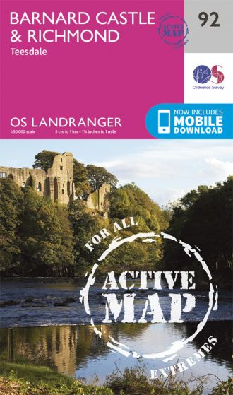 OS Landranger Active - 92 - Barnard Castle and surrounding areas