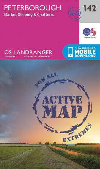 OS Landranger Active - 142 - Peterborough, Market Deeping & Chatteris