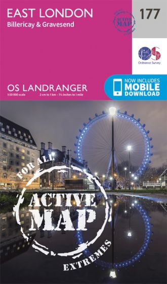 OS Landranger Active - 177 - East London, Billericay & Gravesend