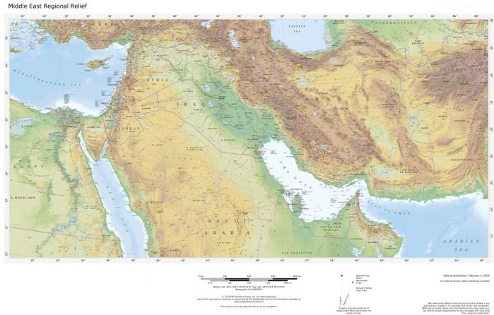 Regional Relief - Middle East Map