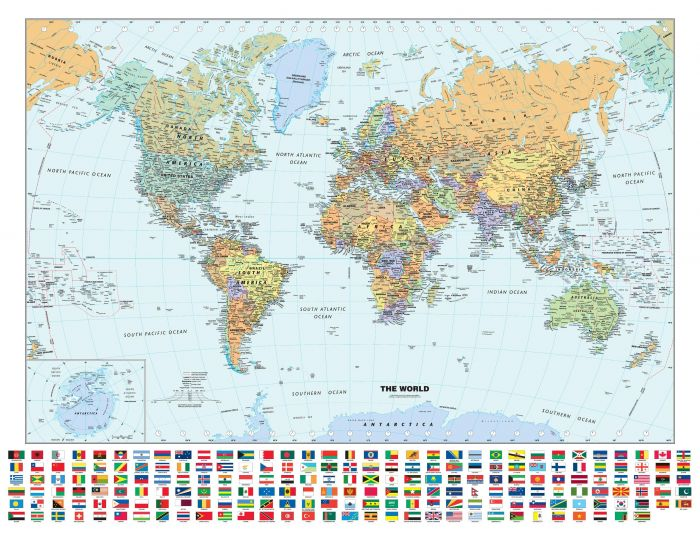 Classic World Wall Map with Flags Map
